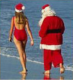 Santa claus at the beach