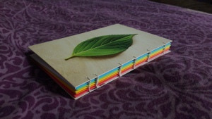 Handbound coptic stitch journal with postcard covers