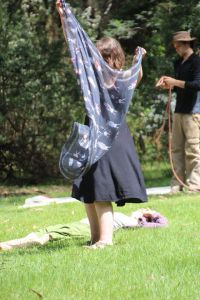 Spontaneously dancing with my scarf in the Toolangi forest.
